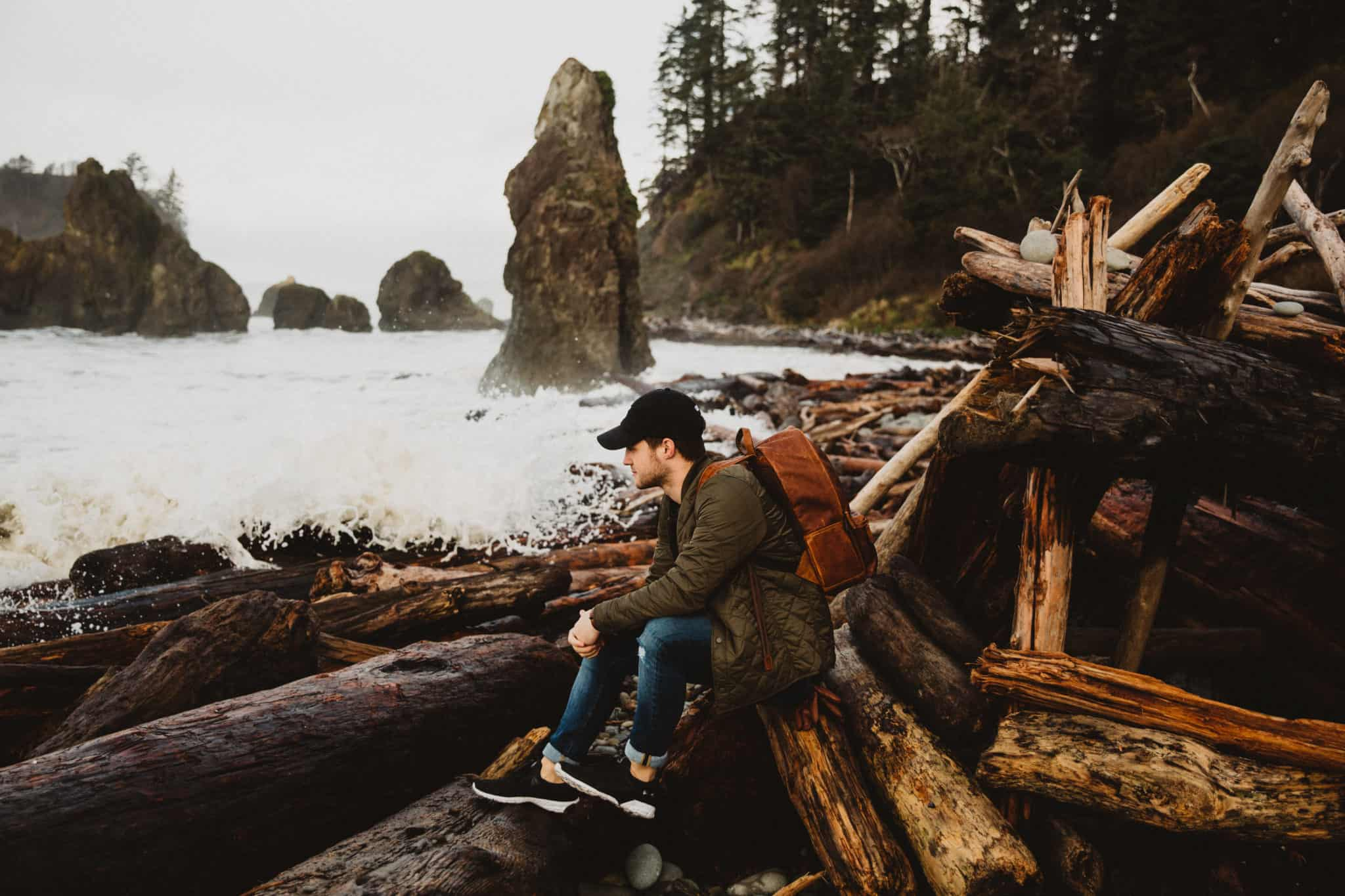 Matt at Ruby Beach on the Washington Coast