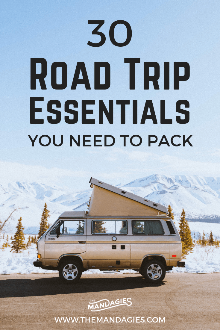 Packing for an adventure on the road? Don't leave the house without this road trip essentials list! We're sharing everything from slippers to playlists to the best drink carrier! You're not going to want to miss these road trip must haves. #roadtrip #road #list #photography #ontheroad #instagram #packinglist #checklist #vanlife #road #travel #USA