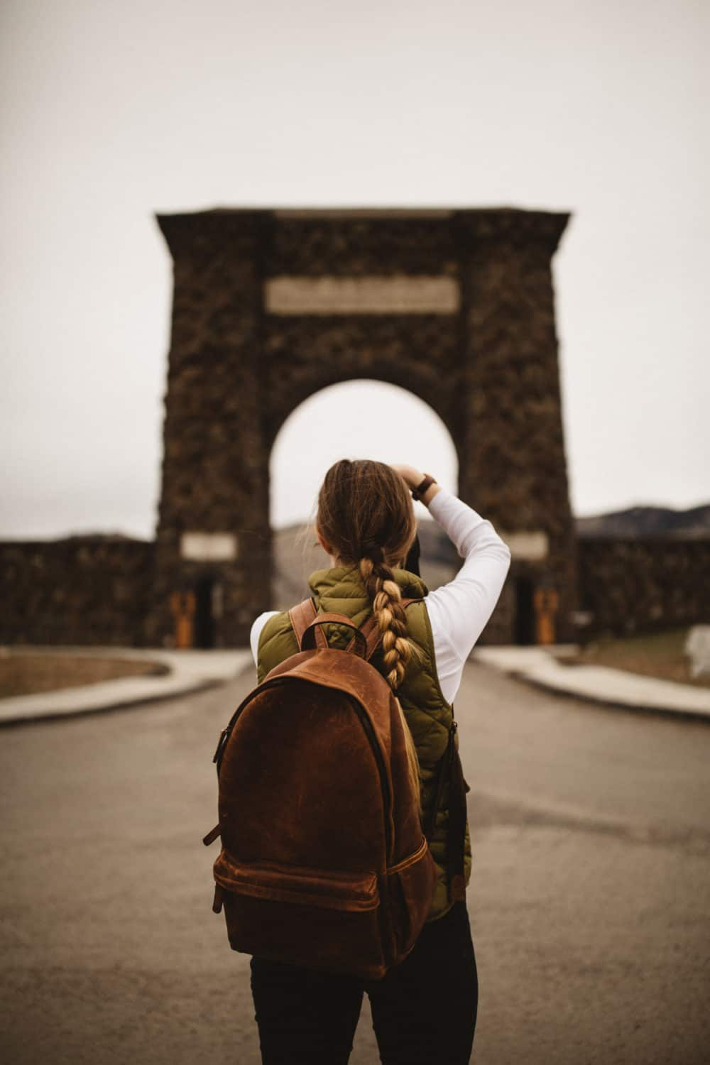 Emily Mandagie at Roosevelt Arch National Park