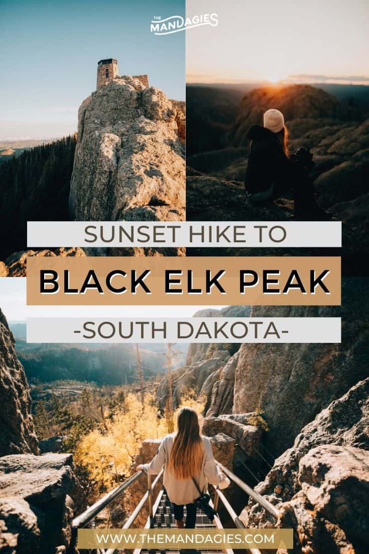Hiking Black Elk Peak Trail is South Dakota is one of the coolest things you can do in the state! This historic hike is full of amazing sights, fire towers, Lakota tribe prayer flags, and surrounded by so much beauty. Save this post for your next cross country road trip and don't forget to stop by Custer State Park! #southdakota #blackelkpeak #mountrushmore #custerstatepark #hiking #nature #travel #photography #sunset
