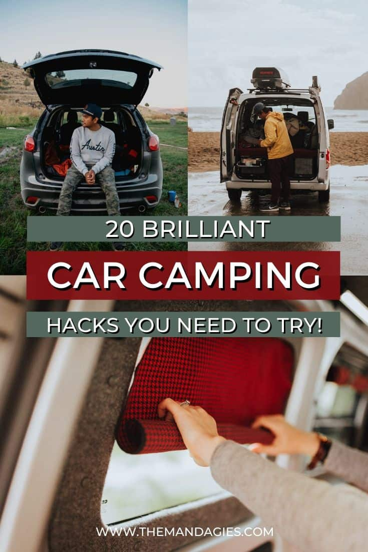Looking for ways to make car camping more comfortable and fun? We've got you covered! We're sharing 20 brilliant car camping hacks, including everything from making DIY curtains, how to shower on the road, and essentials you should have in the car. Save this post for your next epic car camping adventure! #carcamping #camping #roadtrip #vanlife