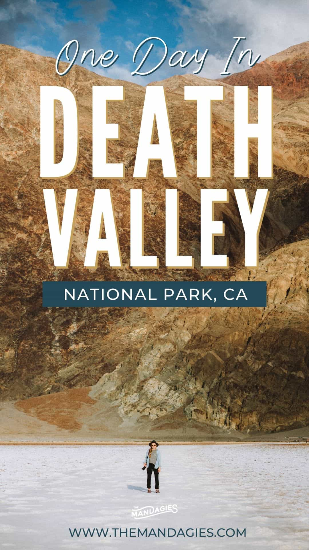 Want to explore death valley but don't have a lot of time? We're showing you how to explore Death Valley in one day! We're sharing epic stops like Zabriskie Point, Mesquite Sand Dunes, and Badwater Basin for a fun and quick trip to this Southern California desert. Save this post for your next Southwest road trip! #california #roadtrip #deathvalley #desert #deathvalleynationalpark #badwaterbasin #nature #photography #southerncalifornia
