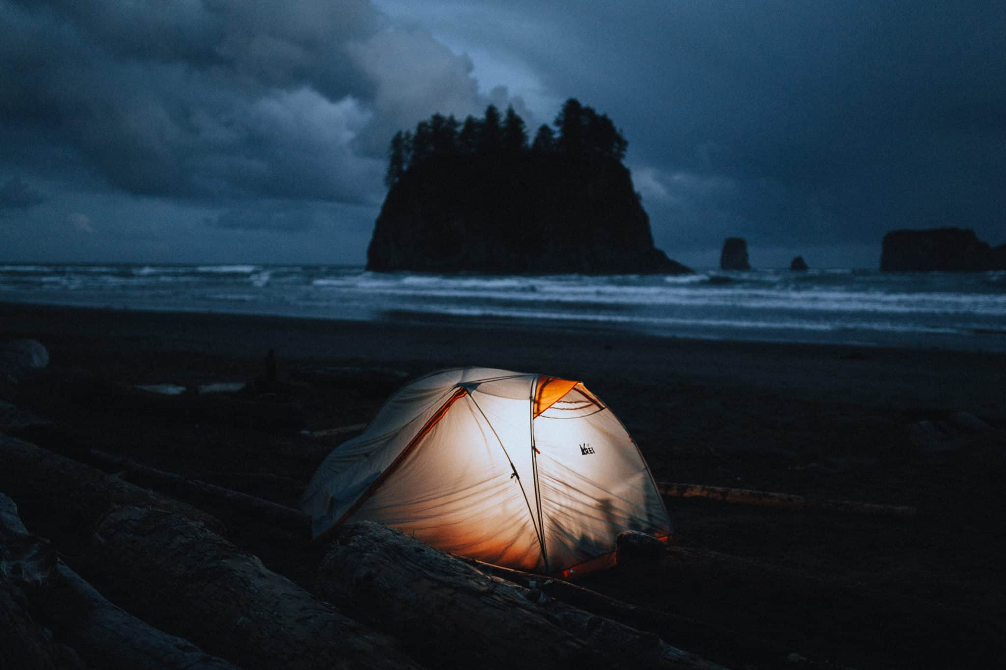 Beach camping in Washington, tent at night