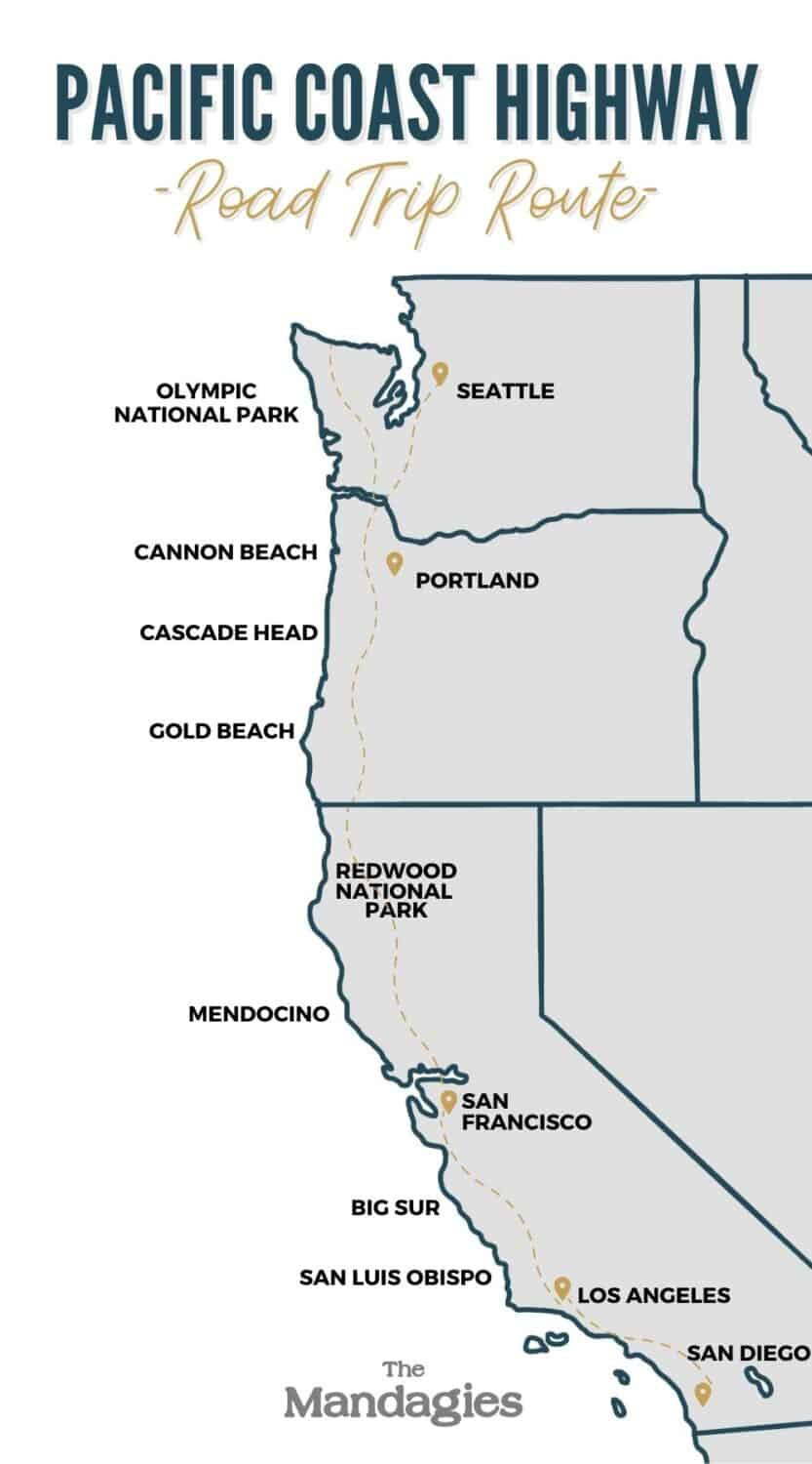 Pacific Coast Highway Map Route