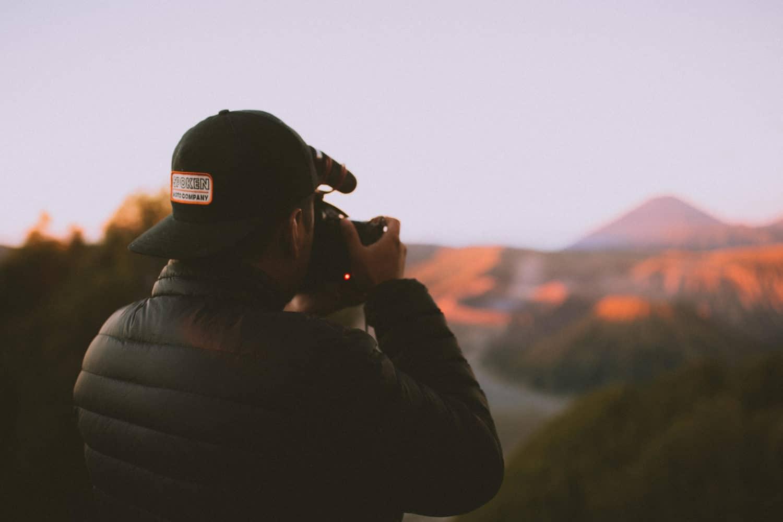 Berty Mandagie taking pictures at Mount Bromo