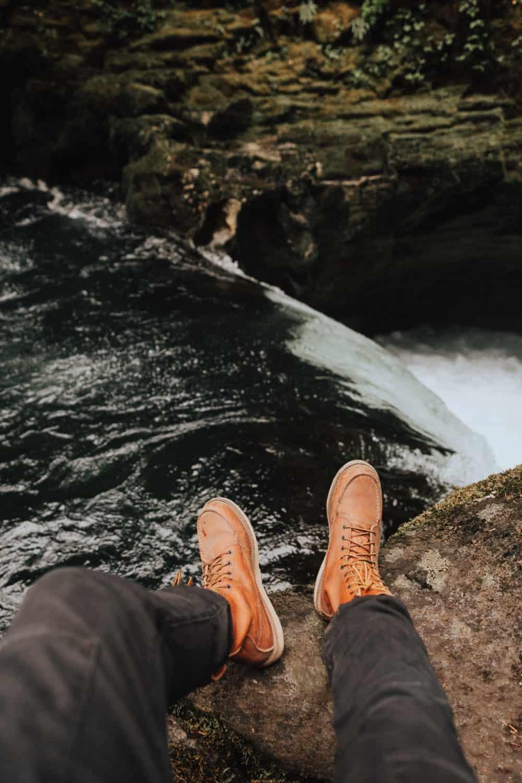 Berty Mandagie shoes above Toketee Falls - Umpqua National Park