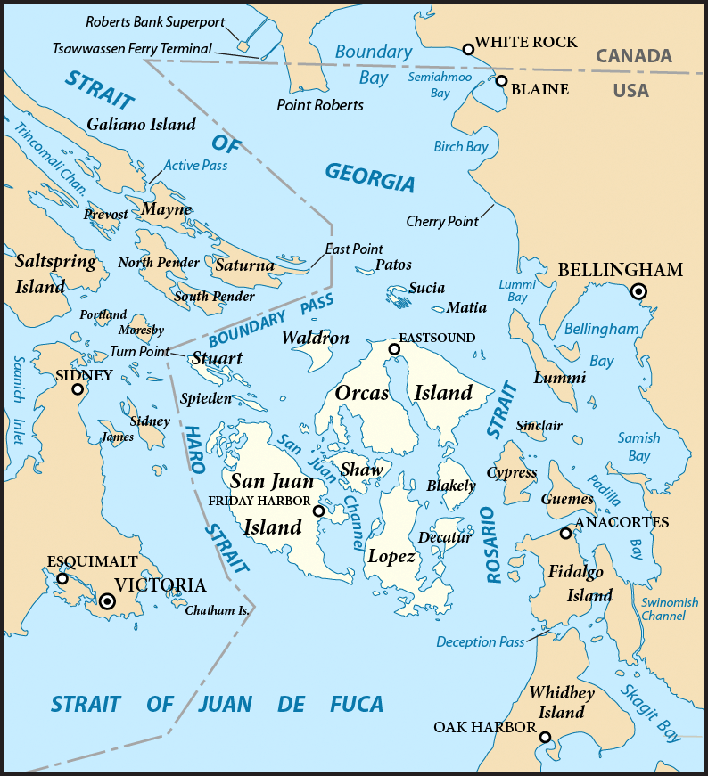 San Juan Islands, Washington Map