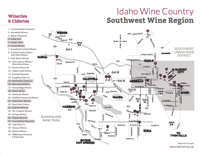 Idaho Wineries Map - From Idahowines.org