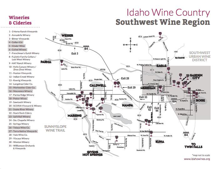 Idaho Wineries Map - From Idahowines.org