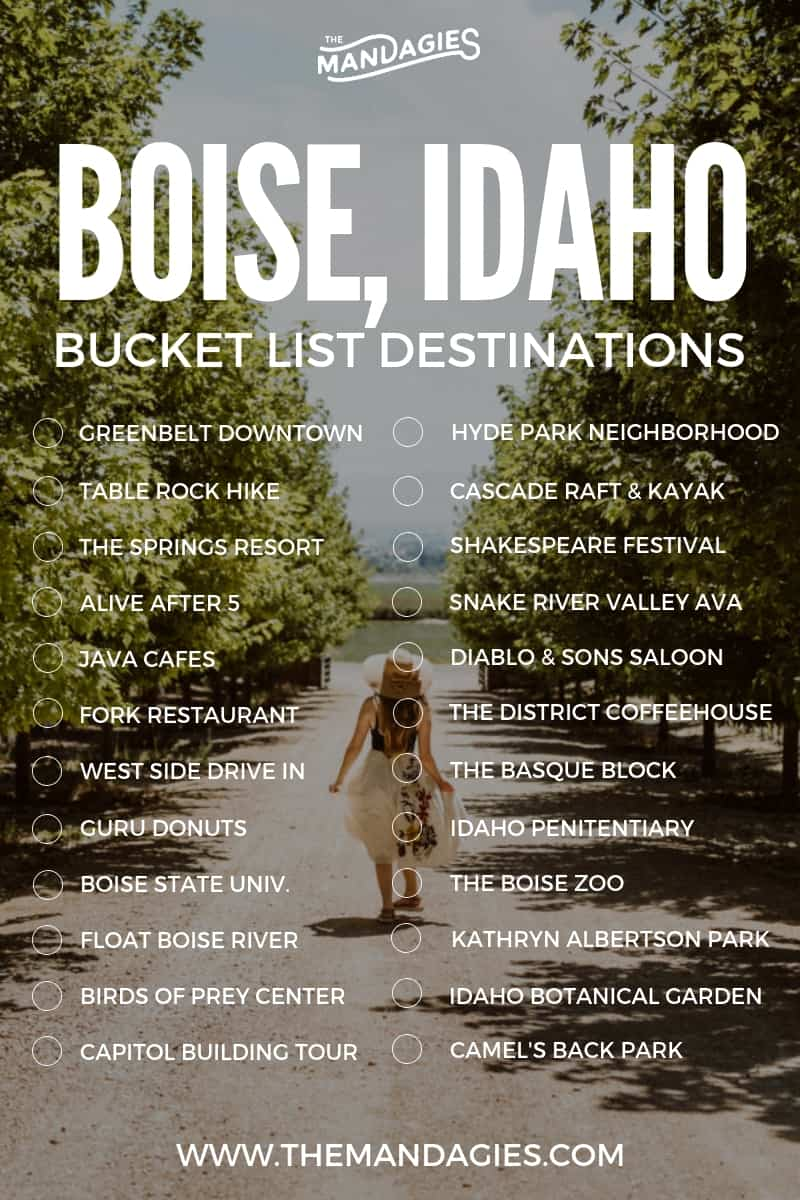 Discover amazing things to do in Boise, Idaho! This post is packed full of Boise attractions, restaurant recommendations, Boise outdoor activities, and so much more. Save this to your Idaho bucket list board to read later for more Idaho inspiration! #Idaho #boise #boiseidaho #outdoors #summer #shakespearefestival #tablerock #boisegreenbelt #inlandnorthwest #summer #snakerivervalley #southwestidaho #travel #familyfriendly #adventure #photography #themandagies