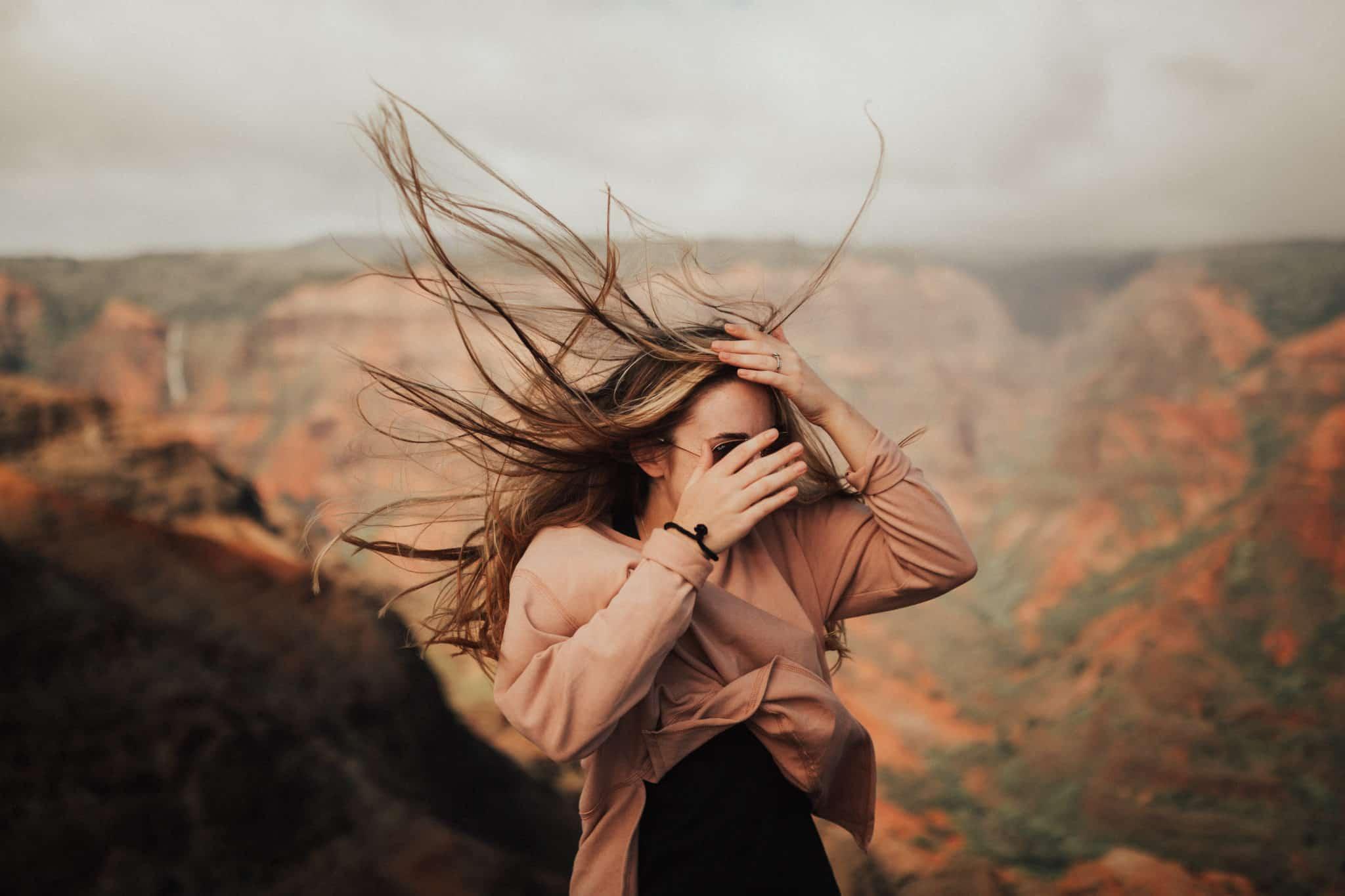 Blowing Hair at Waimea Canyon - Travel Photography Tips