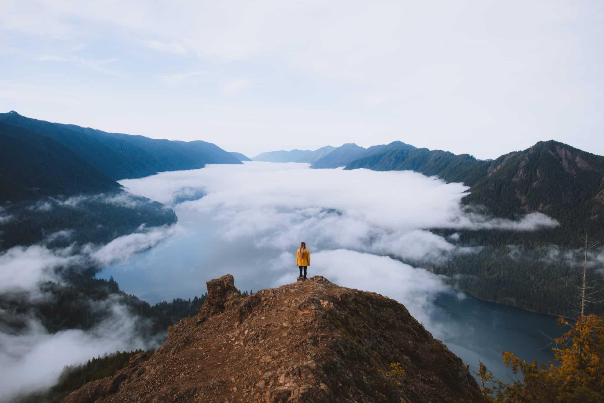 Girl overlooking Mount Storm King