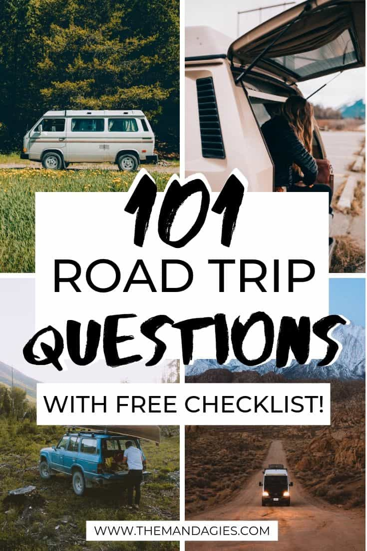 Discover 101 Road Trip Questions to spice up any road trip! #roadtrip #frineds #adventure #vacation #USA #travel