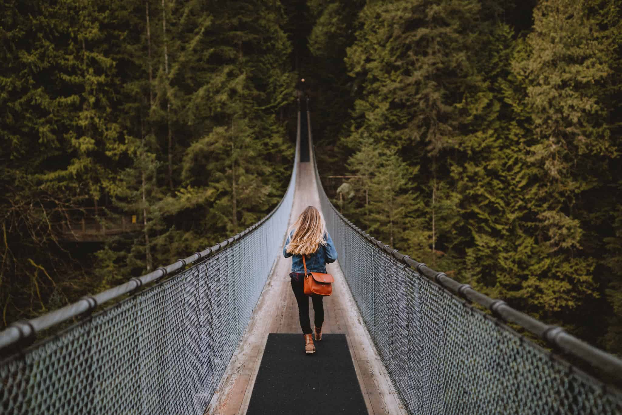 Emily Walking on Capilano Suspension Bridge