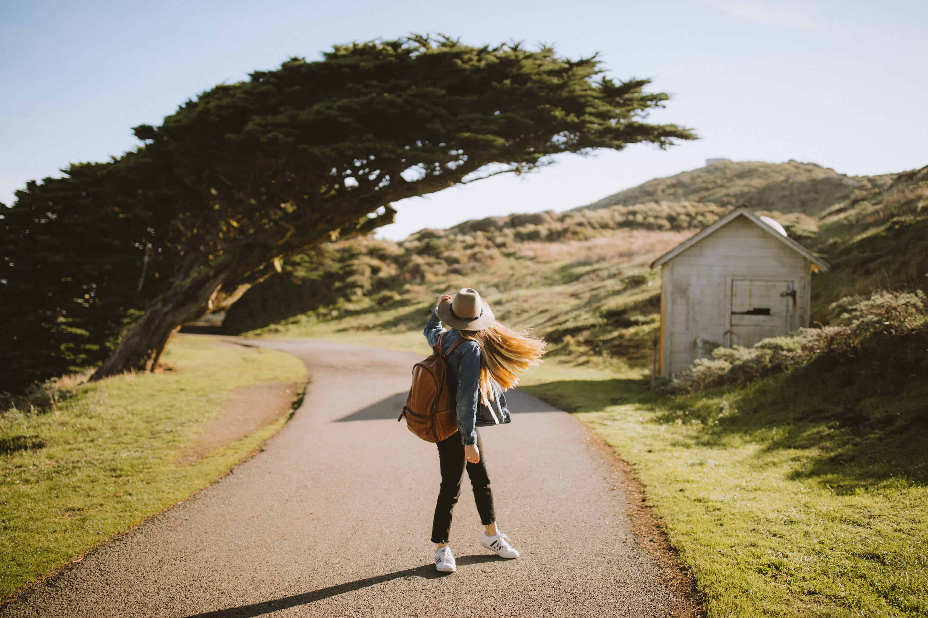 Emily Standing near the Leaning Tree - Things To Do In San Francisco Post