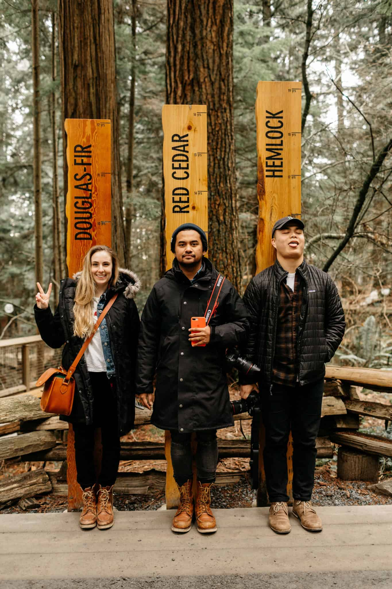 Emily, Berty, and Jeffrey at Capilano Suspension Bridge Park