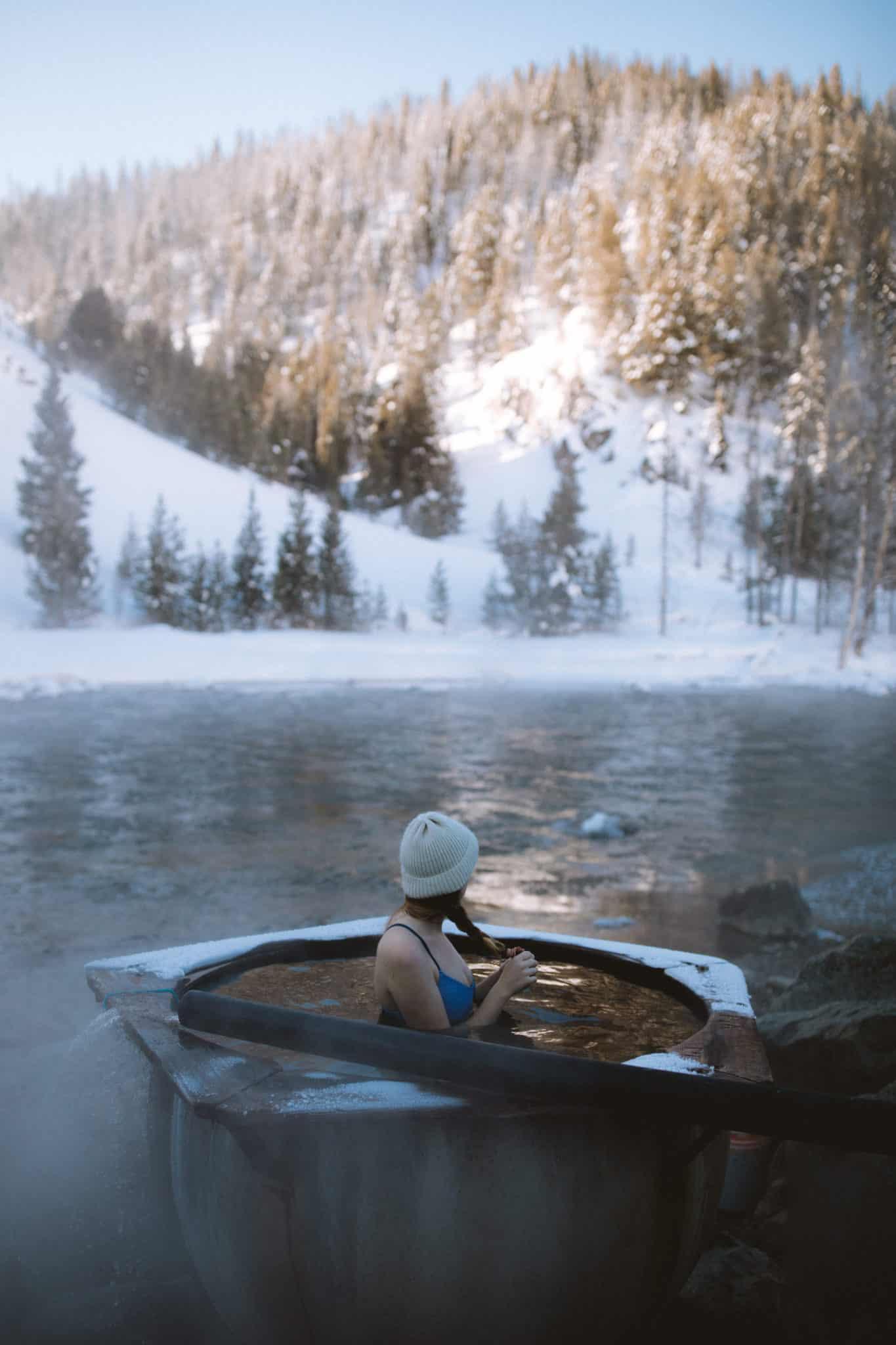 Boat box hot springs in winter