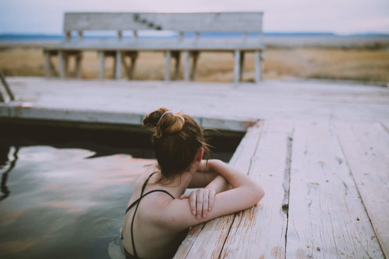 Emily soaking in Alvord Hot Springs