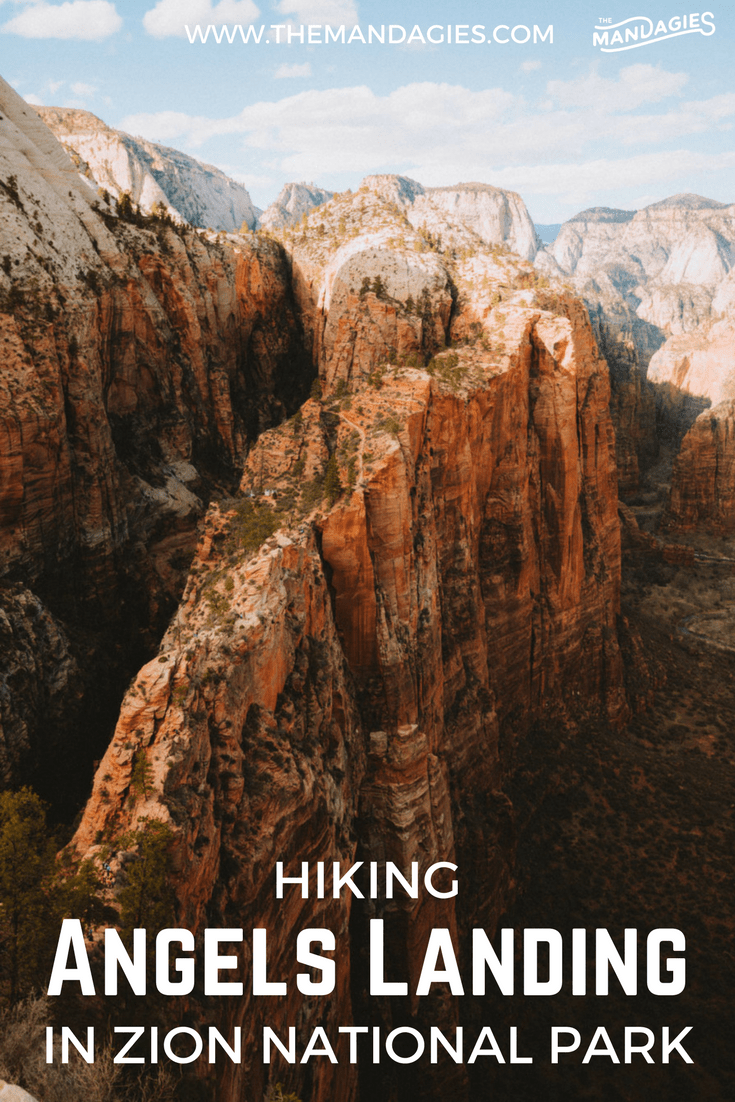 Angels Landing. With 1000-foot drops on either side of this narrow ridge trail, this is one of the most dangerous hikes in the United States. If you dare make it up to the top, Berty and I are sharing our experience at Zion National Park, and what you can expect when hiking this bucket list adventure! #ZionNationalPark #Utah #AngelsLanding #Zion #hike