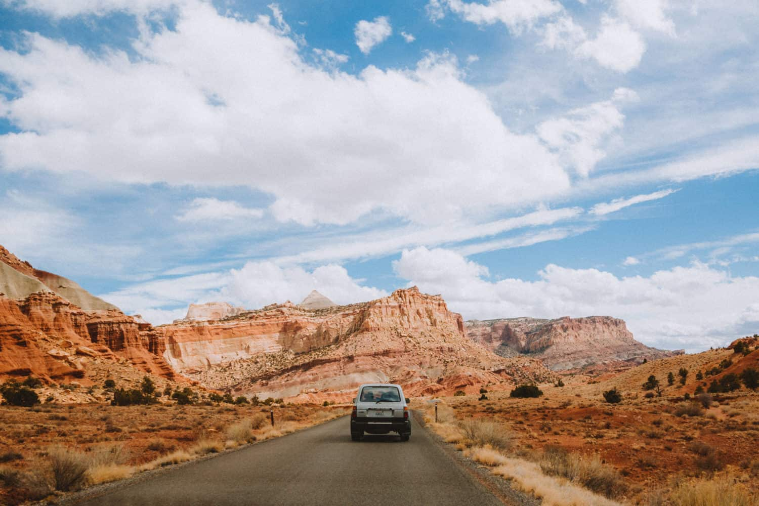 Driving a car on an American West Coast road trip