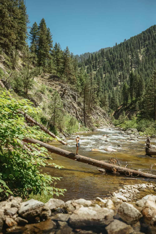 River crossing at Rocky Canyon Hot Springs Garden Valley Idaho