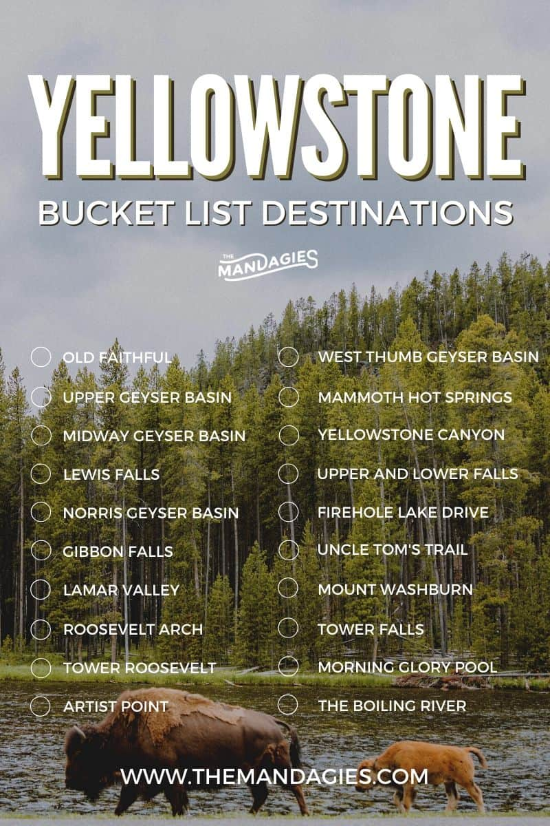 Trying to find a complete list of amazing places to see in Yellowstone National Park? This guide covers all the best things to do in Yellowstone including a Yellowstone bucket list and Yellowstone itinerary. Read it all here! #yellowstone #oldfaithful #grandprismatic #roadtrip #summervacation #nationalpark #travel #USAtravel #USA #autumntravel #travel #photography #hotsprings