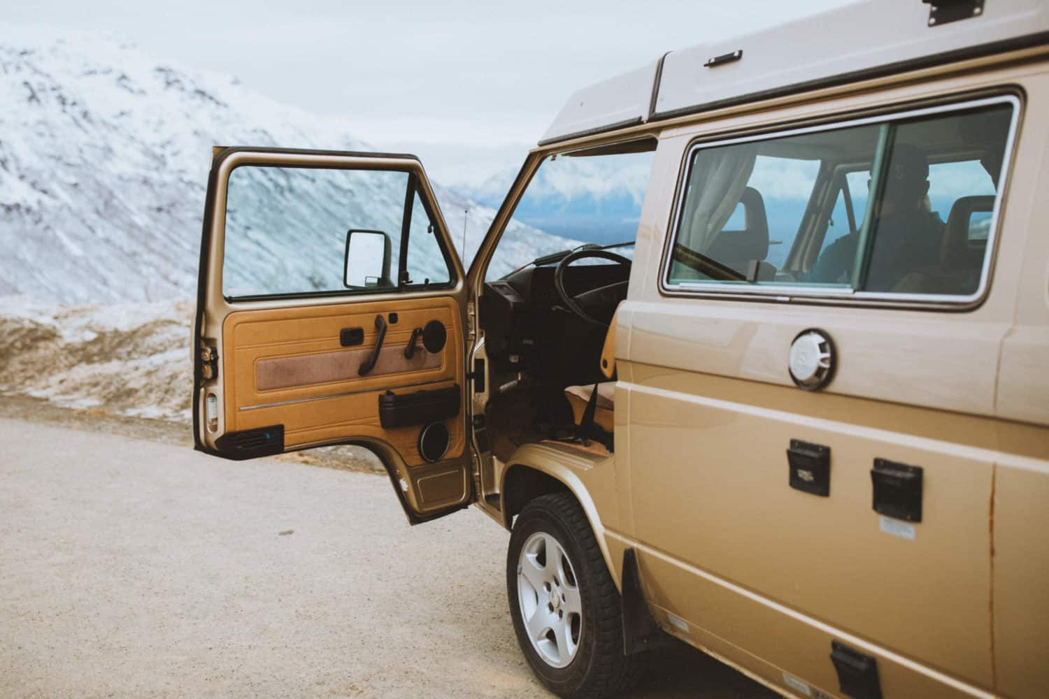 VW Westfalia van door open in Alaska
