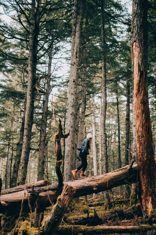 Emily Mandagie hiking the Winner Creek Trail in Girdwood, Alaska - TheMandagies.com