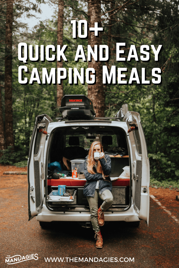 Delicious and easy camping meals await you in this post! We're talking about everything from breakfast, lunch, and dinner to the tools you need to have a quick meal on the road. You won't want to miss this handy camping post! #camping #carcamping #roadtrip #campingmeals #easymeals #easyrecipes #cooking #travel #meals #easymeals