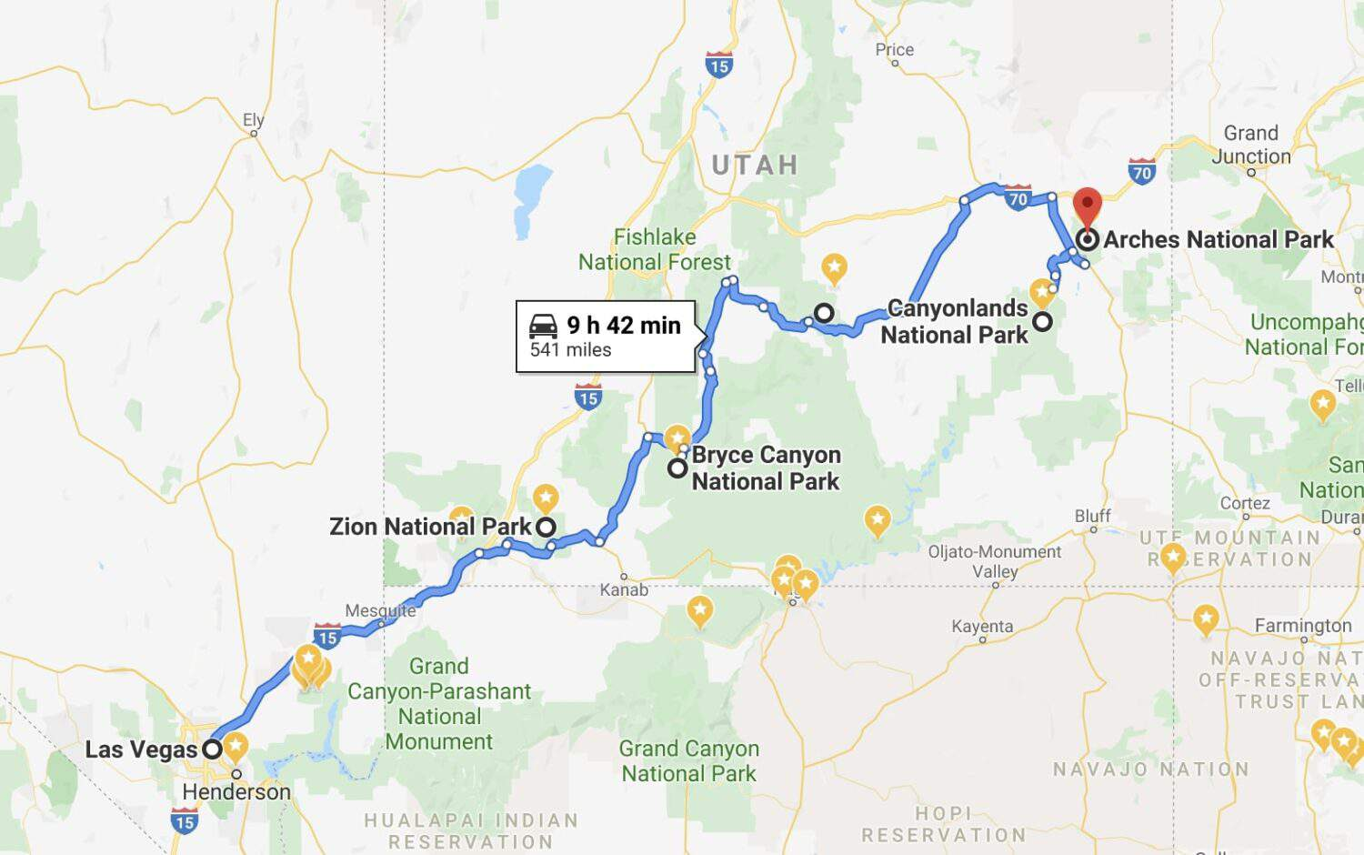 Utah National Parks Road Trip Map From Las Vegas