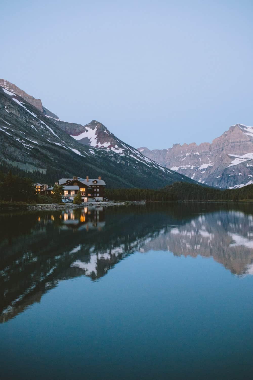 Many Glacier Hotel during sunrise