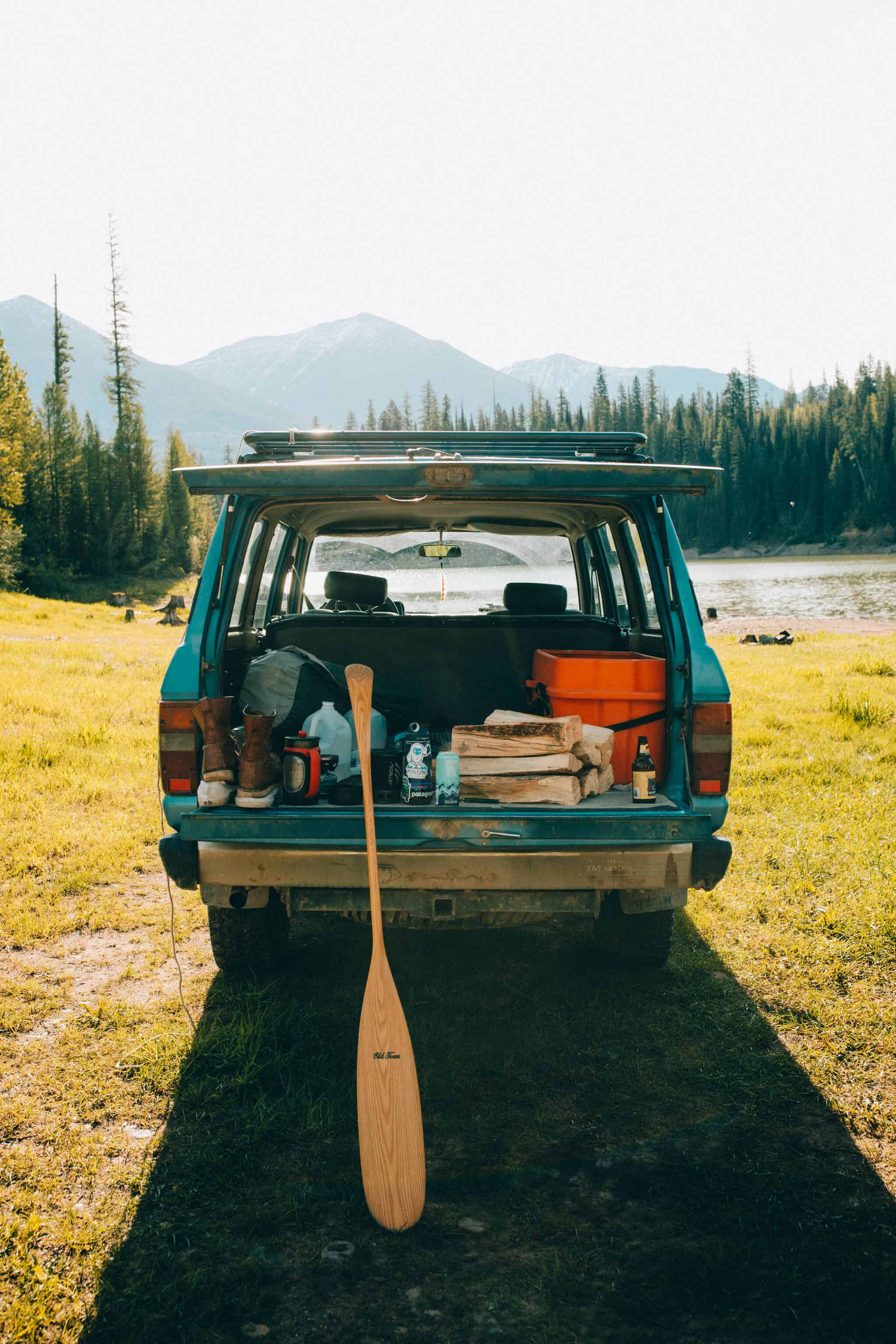camping supplies in back of Toyota FJ cruiser