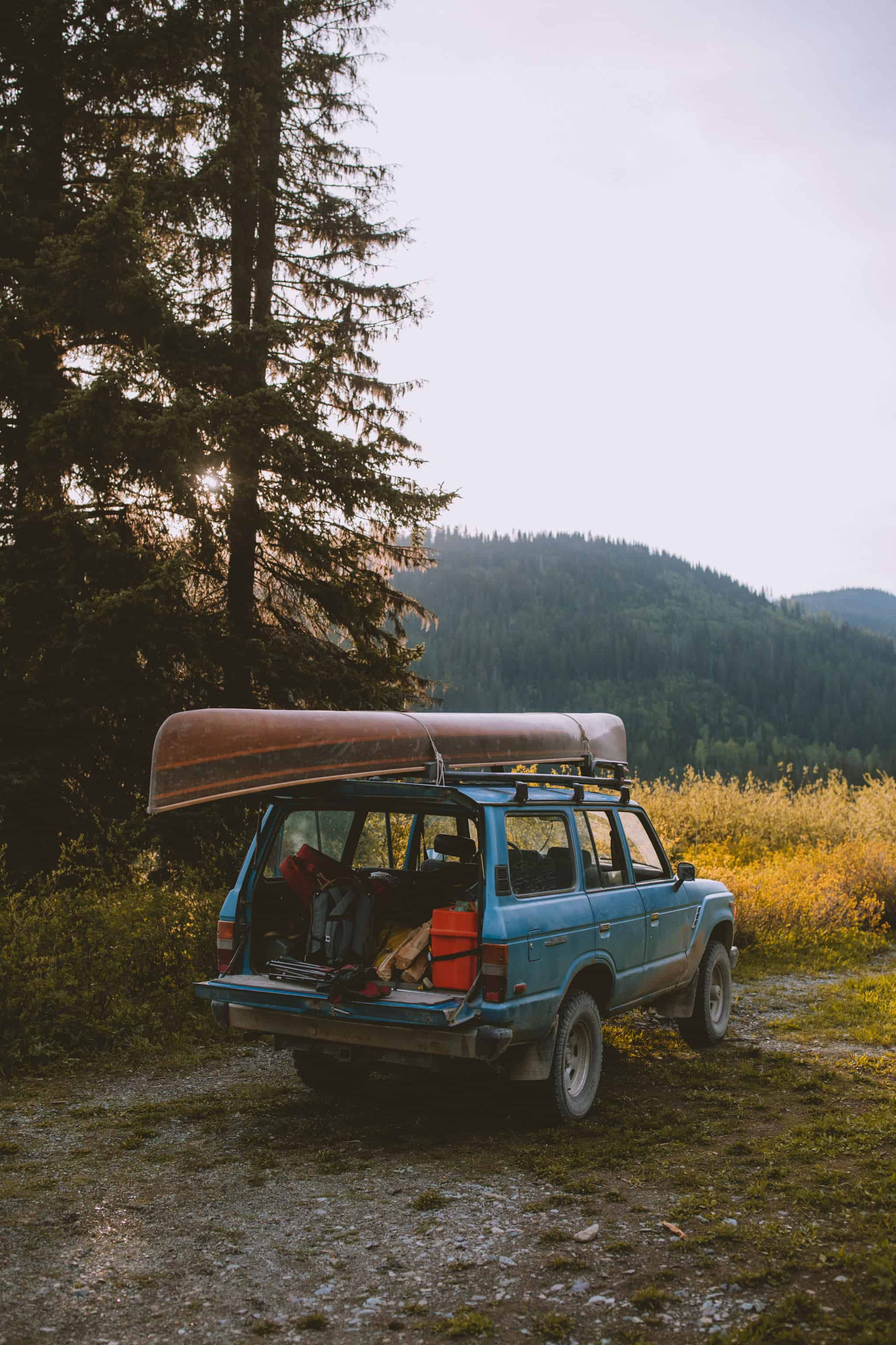 open back of toyota FJ cruiser while camping