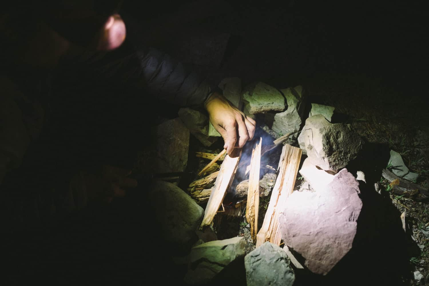 building a fire while camping