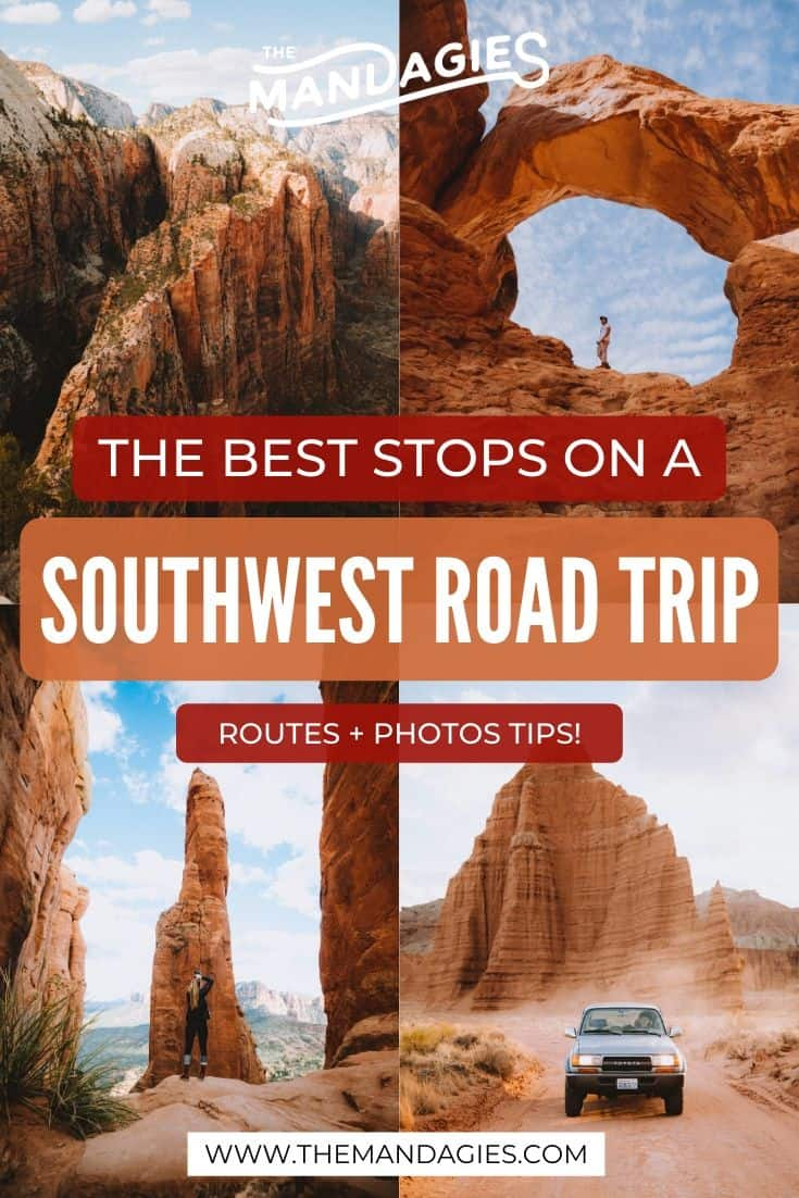 Looking for beautiful destinations in the American Southwest? We're sharing the most photogenic locations in the Southwest, including Delicate Arch, Angels Landing, Cathedral Rock and more! See the full list here! #americansouthwest #southwestUSA #arizona #Utah #grandcanyon #delicatearch #zion #brycecanyon #archesNPS #canyonlands #grandcanyon #sedona