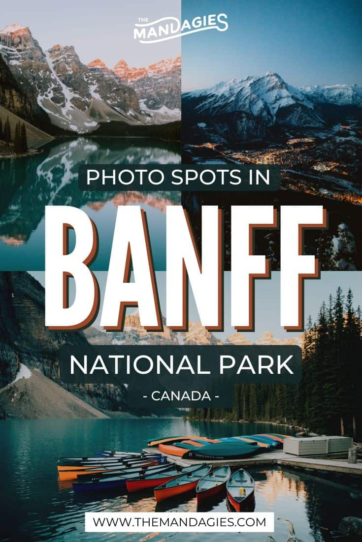 Discover the best photo spots in Banff with our complete guide! We're sharing the most iconic Banff photography locations, as well as tips for some lesser known spots too. Save this is you want some epic instagram travel inspiration for your next adventurer! #Banff #hiking #PNW #pacificnorthwest #banffnationalpark #Canada #CanadianRockies #Mountains #photography #landscape #mountains