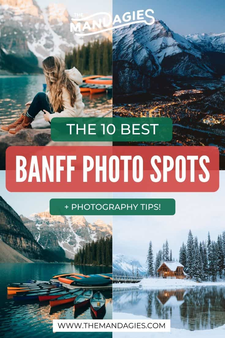 Looking for the best photography locations in Banff National Park? You're in the right place! We're sharing classic spots like Lake Louise and Moraine Lake, but also hidden spots and even more beautiful Banff locations. See the full list here! #banff #photography #instagram #banffnationalpark #canadianrockies #canada #lakelouise #emeraldlakelodge #morainelake #banffgondola