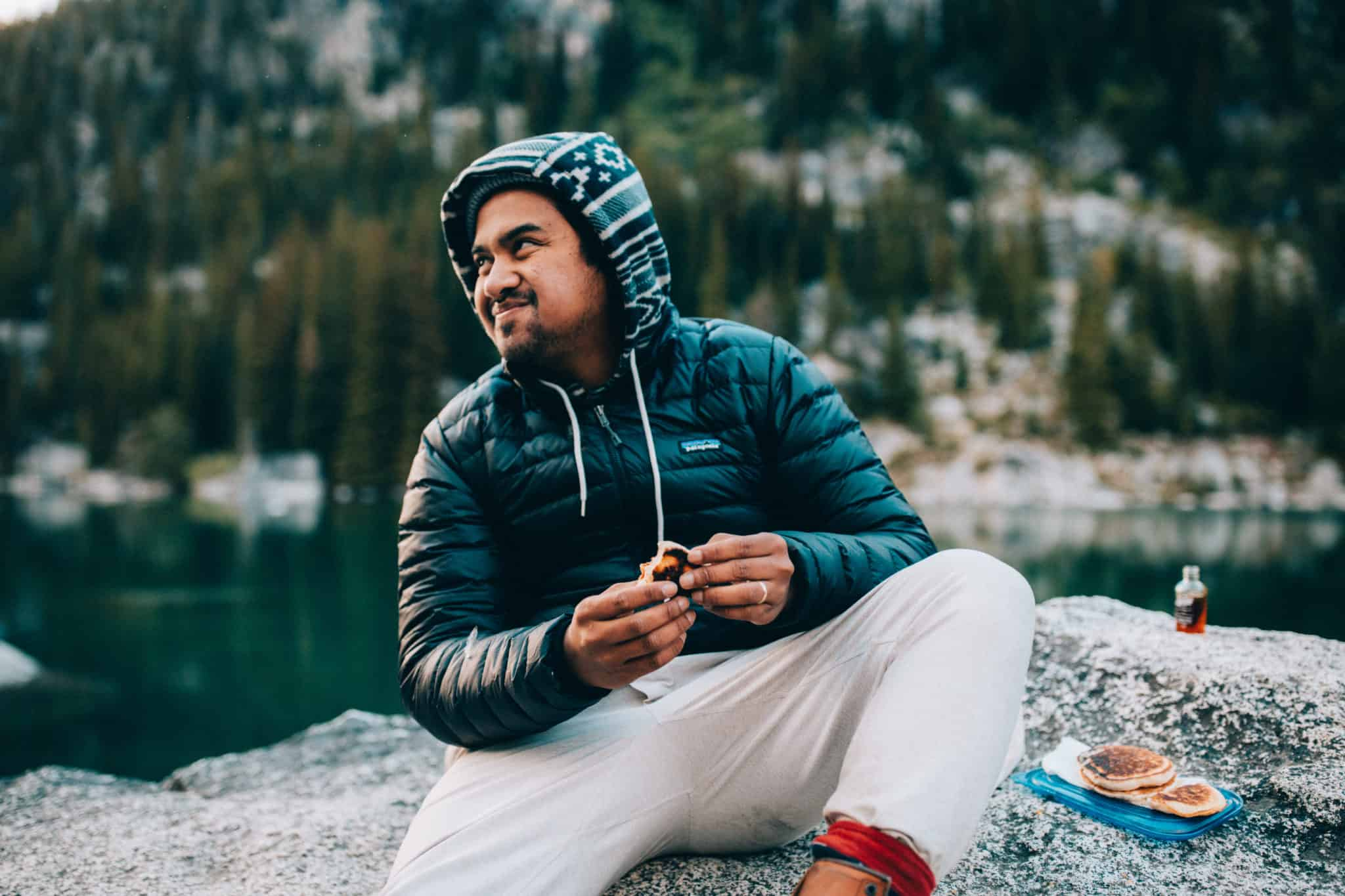 Berty eating pancakes at Colchuck Lake