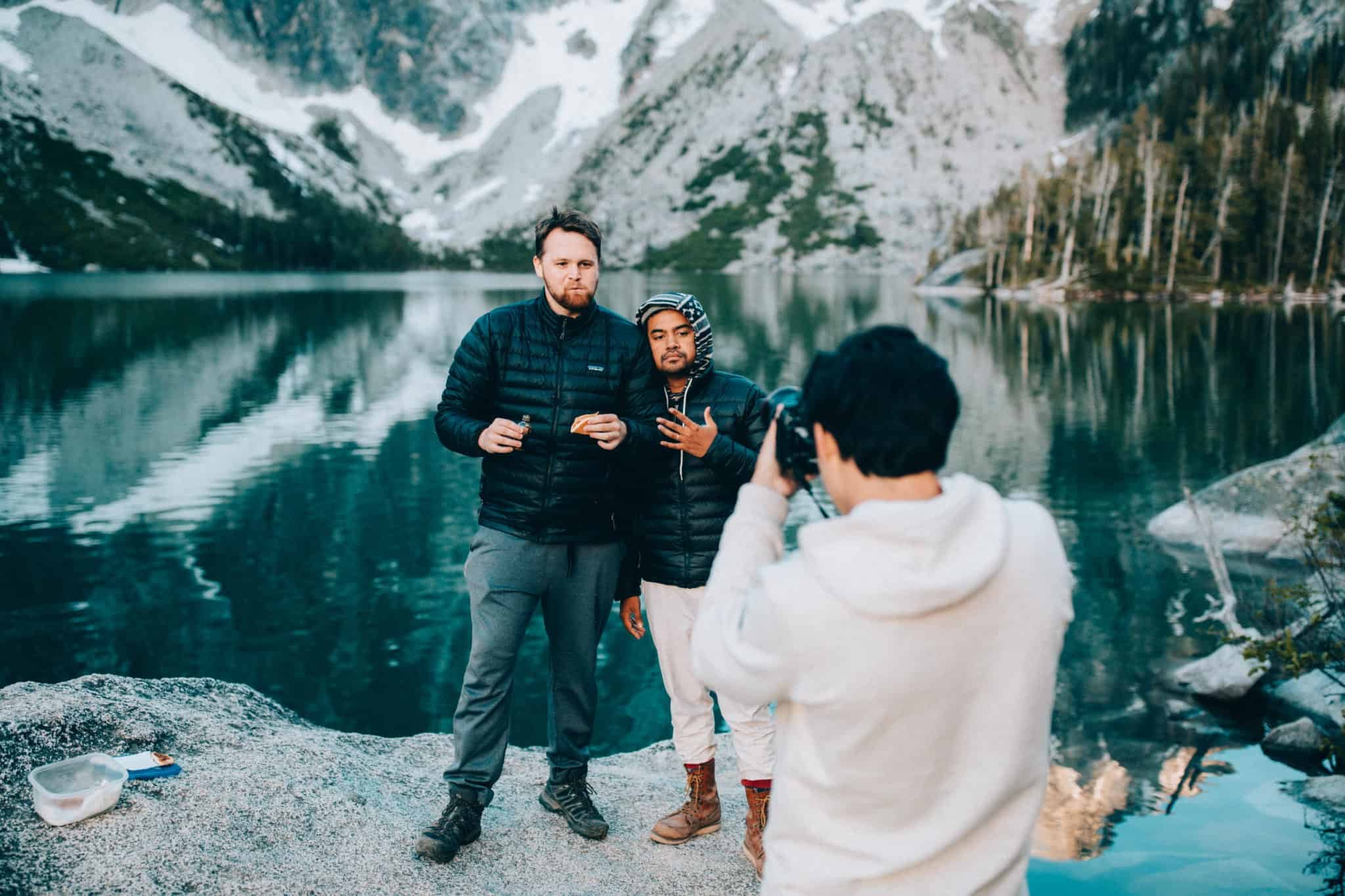 Three men taking photos at Colchuck Lake, Washington (TheMandagies.com)