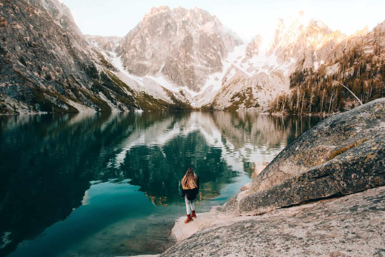 Emily Mandagie standing at Colchuck Lake Washington