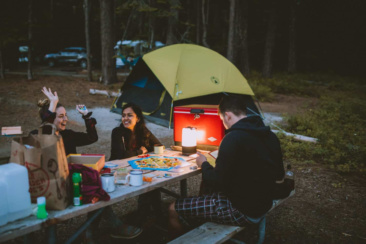 Playing games while camping
