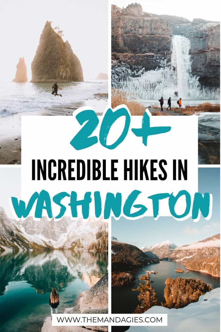 Discover more than 20 beautiful hiking trails in Washington State! From waterfall hikes to scenic mountain views, there's a Washington trail for any skill level! Click here to get inspired for your next trip! #washington #hiking #trails #PNW #pacificnorthwest #PNW #hike #washingtonstate #travel #photography