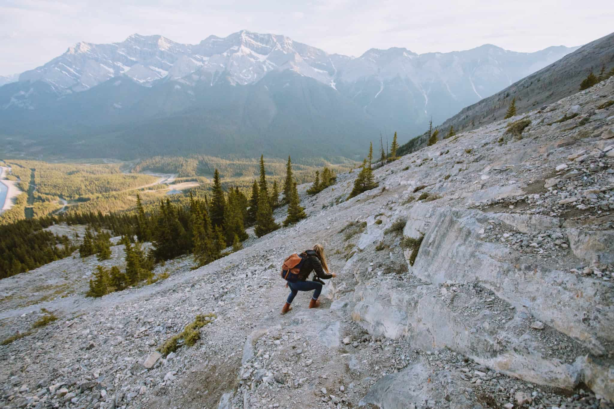 Emily Mandagie climbing on East End of Rundle hike