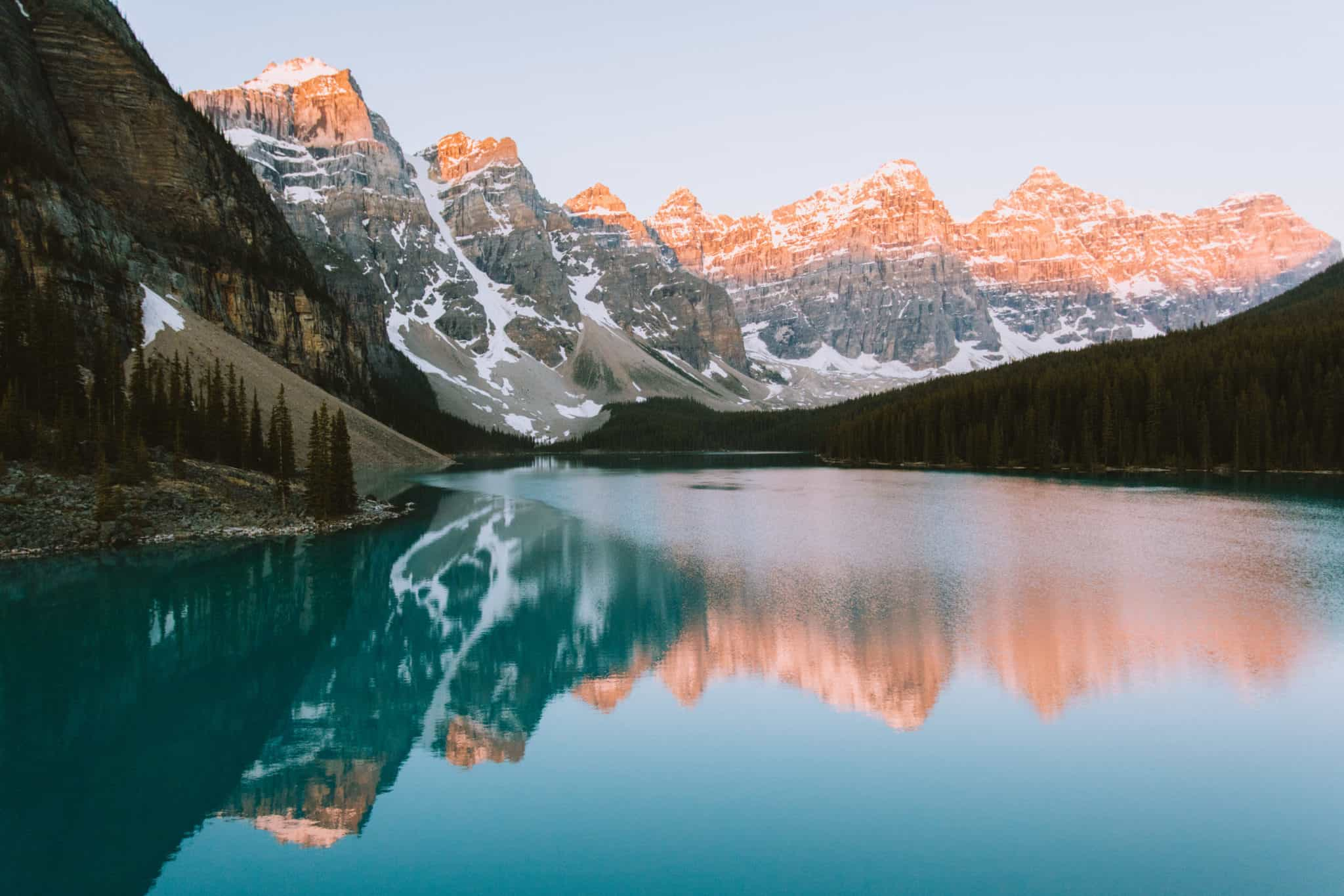 Moraine Lake during sunrise - Top Photo Spots In Banff National Park