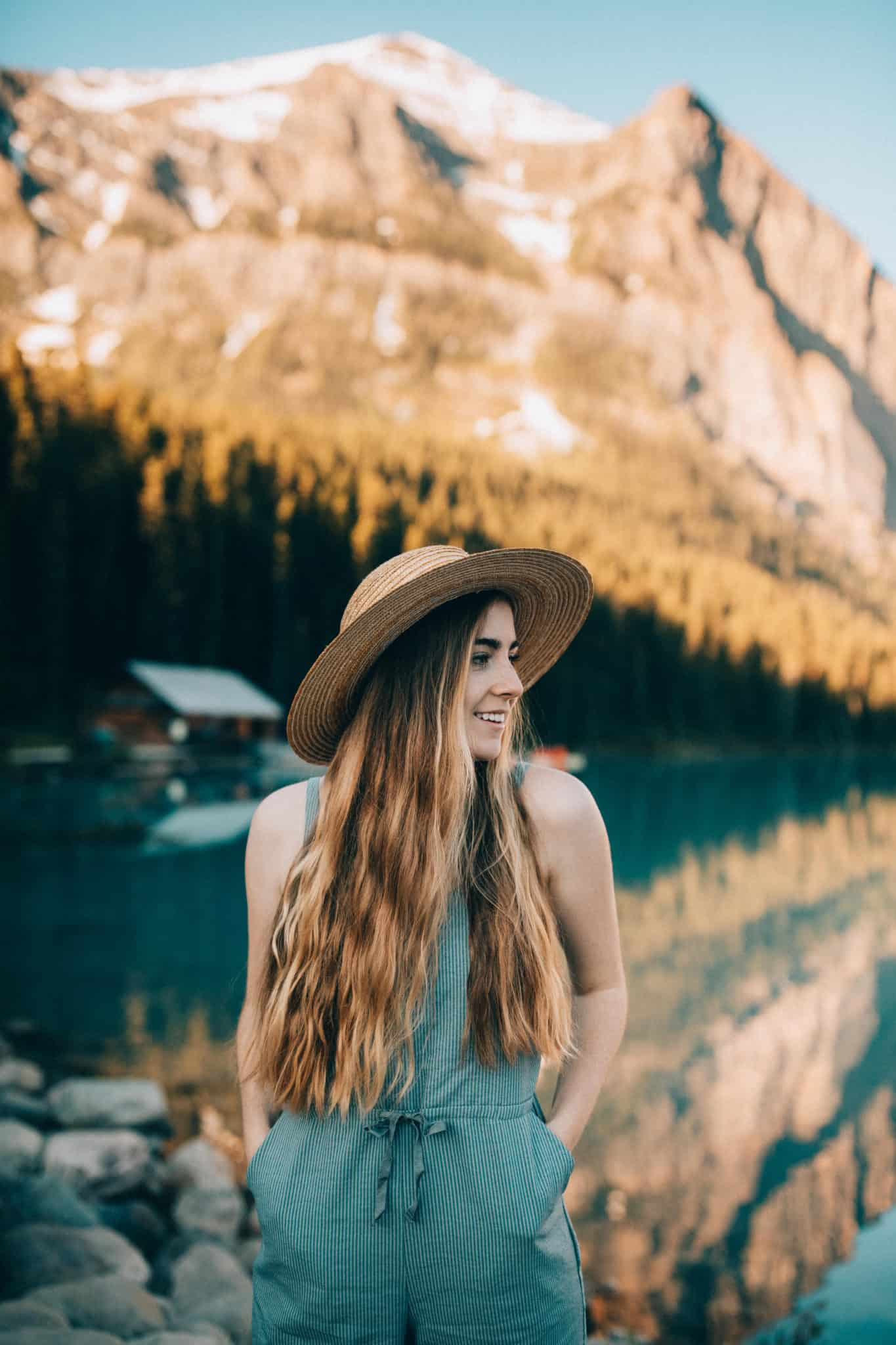 Emily Mandagie at Lake Louse wearing Bridge & Burn Jumper