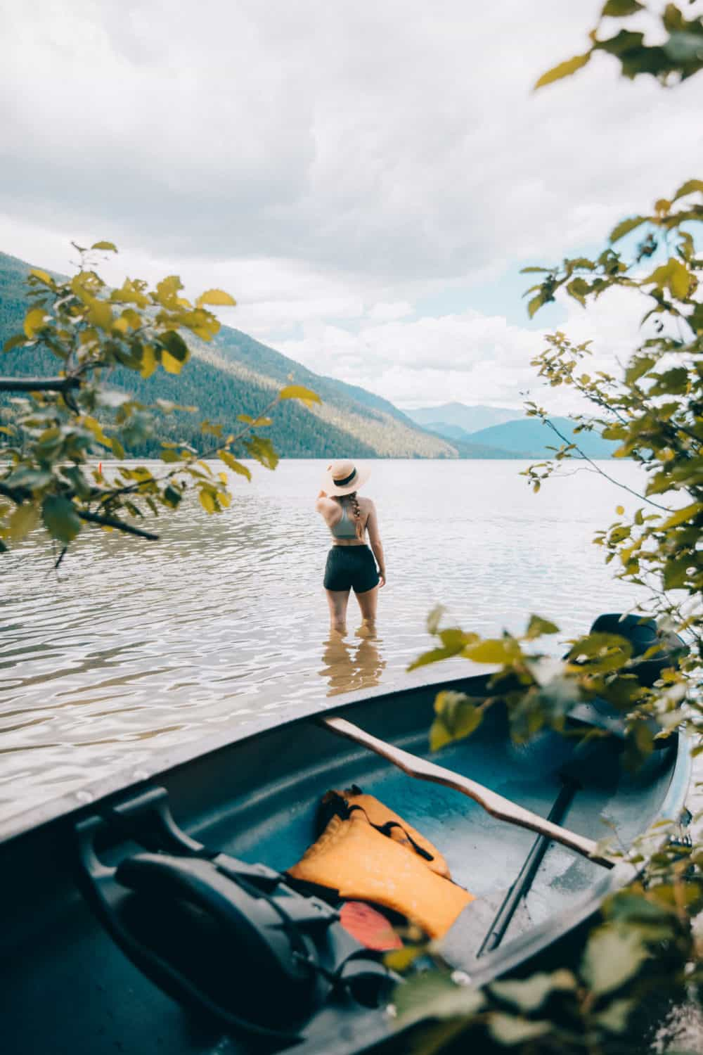 Emily Mandagie at Upper Priest lake with canoe - Northern Idaho