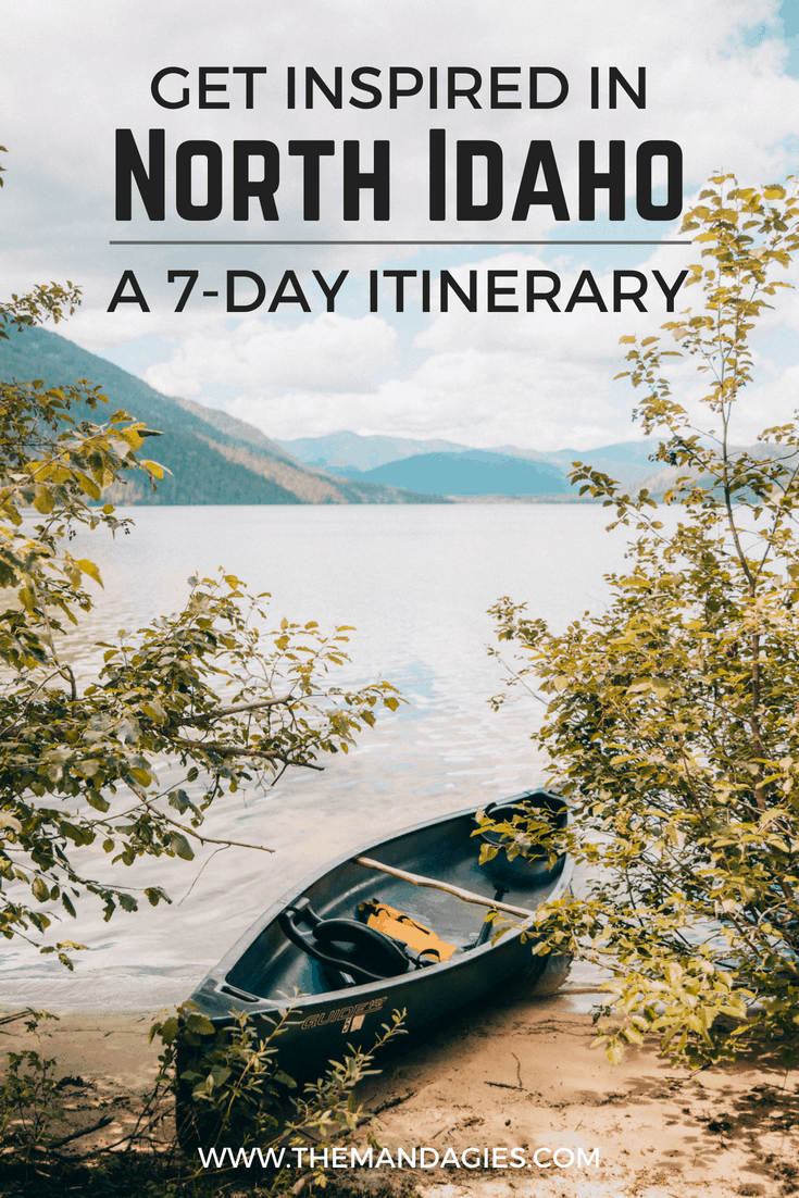 Click here to start planning the most epic 7-day Northern Idaho itinerary. Perfect for a road trip with friends in Idaho and exploring the beautiful Gem State! Cities include Coeur d'Alene, Sandpoint, Wallace, Coolin, and more! #camping #idaho #panhandle #coeurdalene #sandpoint #inlandnorthwest #hiawatha #summer #friends #travel #hiking #adventure #lake #lookoutpass #visitidaho #themandagies