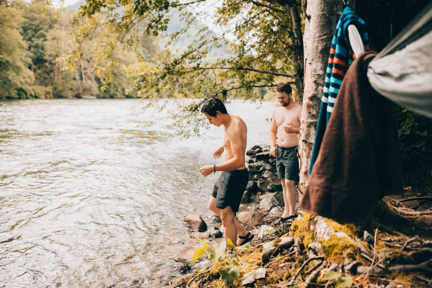Jumping into the South Fork River - Washington