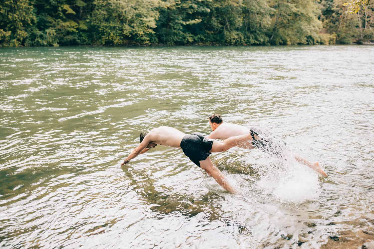Jumping into the South Fork River