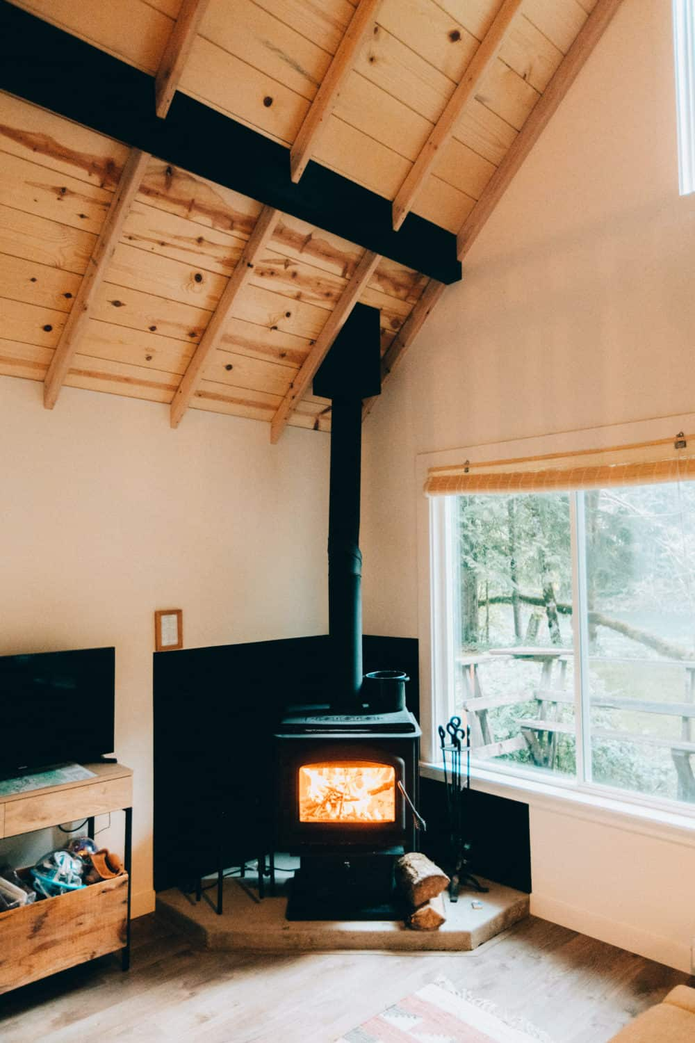 South Fork Cabin Interior - Wood burning stove